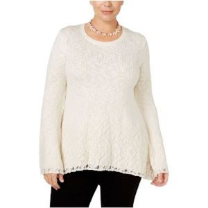 Style & Co Metallic Lace Trim Pullover Sweater 3X